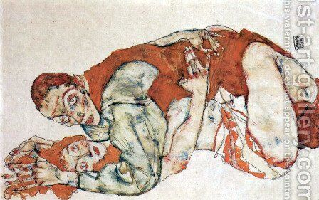 Sexual act, study by Egon Schiele - Reproduction Oil Painting