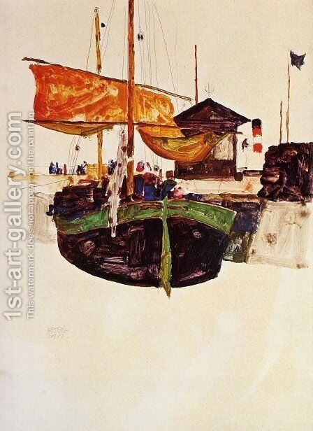 Ships at Trieste by Egon Schiele - Reproduction Oil Painting