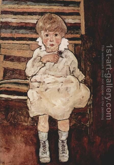 Sitting child 2 by Egon Schiele - Reproduction Oil Painting