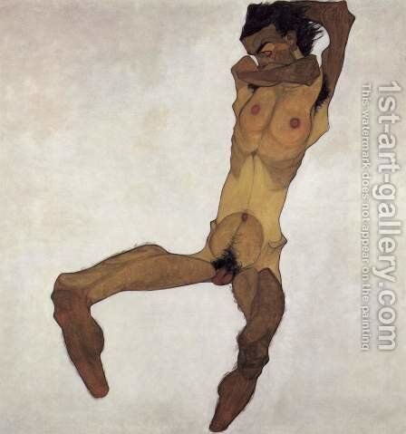 Sitting male act 2 by Egon Schiele - Reproduction Oil Painting