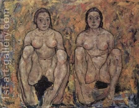 Squatting women's pair by Egon Schiele - Reproduction Oil Painting