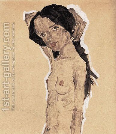 Standing nude young girl by Egon Schiele - Reproduction Oil Painting