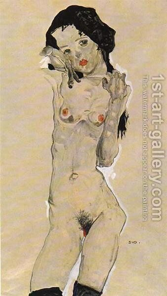 Standing nude young girl 2 by Egon Schiele - Reproduction Oil Painting