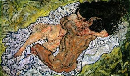 The Embrace (The Loving) by Egon Schiele - Reproduction Oil Painting