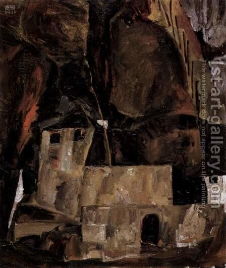 Wall and house before hügligem ground with fence by Egon Schiele - Reproduction Oil Painting
