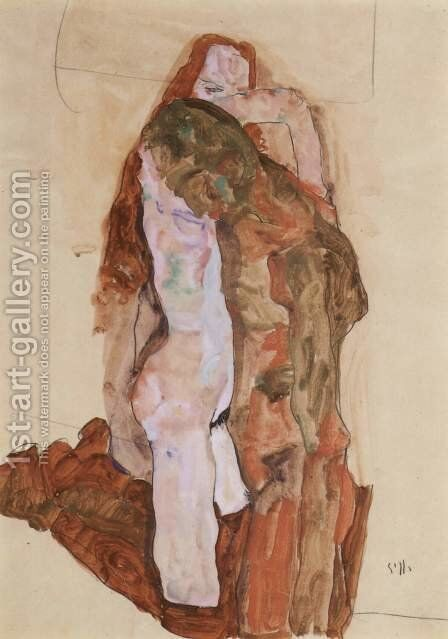 Woman and Man (Alternately, Husband and Wife) by Egon Schiele - Reproduction Oil Painting