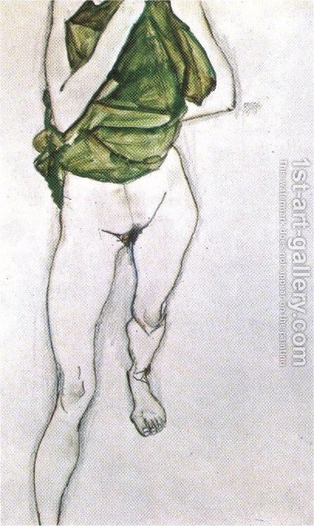 Woman in the green blouse 1913 by Egon Schiele - Reproduction Oil Painting