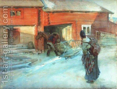 A Farmstead by Carl Larsson - Reproduction Oil Painting