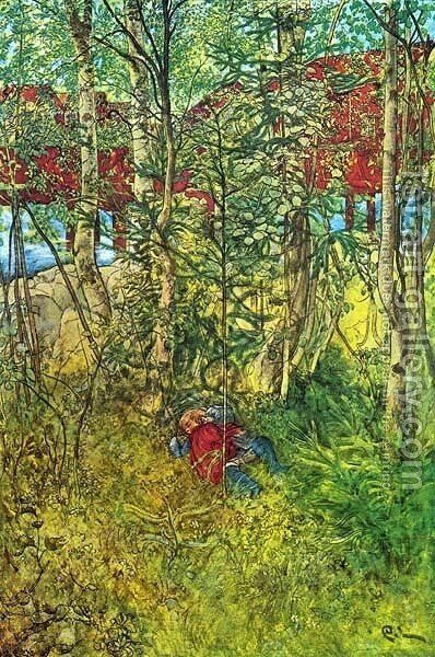 A Nap Outdoors by Carl Larsson - Reproduction Oil Painting