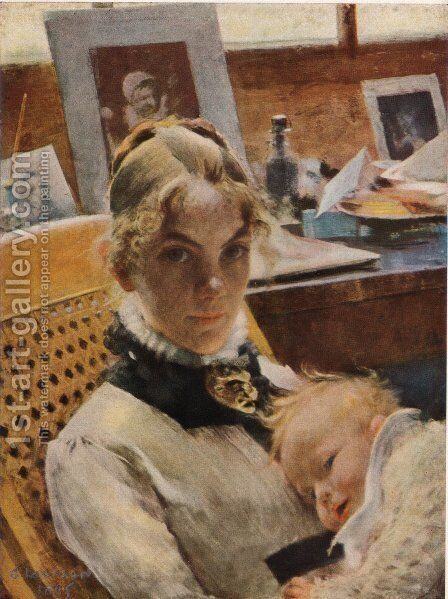 A studio idyll. The artist's wife and their daughter by Carl Larsson - Reproduction Oil Painting