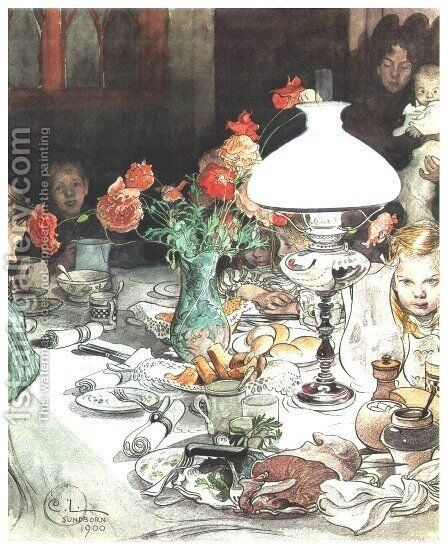 Around The Lamp by Carl Larsson - Reproduction Oil Painting