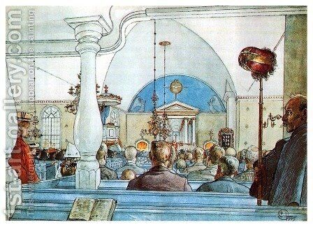 At Church by Carl Larsson - Reproduction Oil Painting