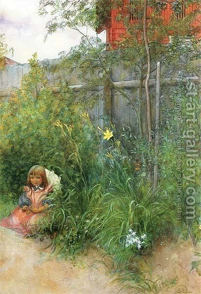 Brita In The Flowerbed by Carl Larsson - Reproduction Oil Painting