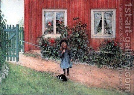 Brita, Cat And A Sandwich by Carl Larsson - Reproduction Oil Painting