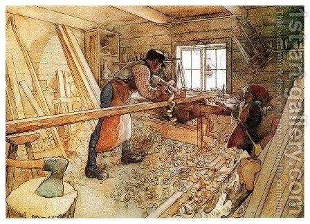 Carpenter Shop by Carl Larsson - Reproduction Oil Painting