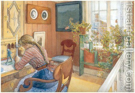 Correspondence by Carl Larsson - Reproduction Oil Painting