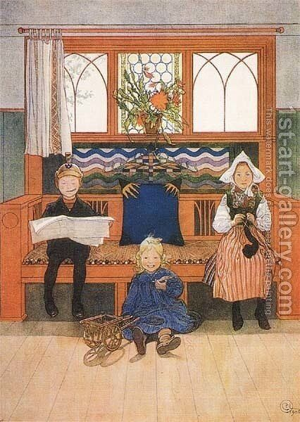 Father, Mother And Child by Carl Larsson - Reproduction Oil Painting