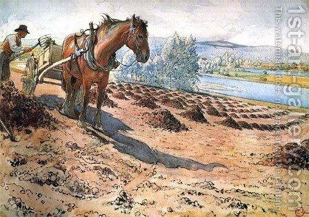 Fertilizing The Field by Carl Larsson - Reproduction Oil Painting