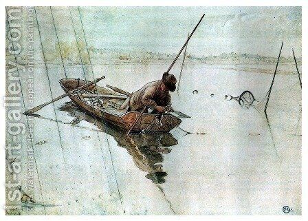 Fishing by Carl Larsson - Reproduction Oil Painting
