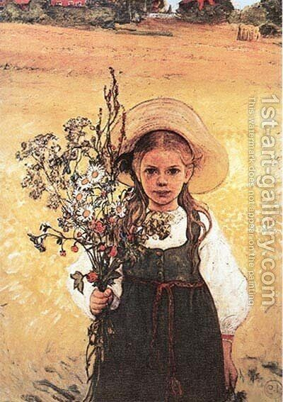 Flowers In The Meadow by Carl Larsson - Reproduction Oil Painting