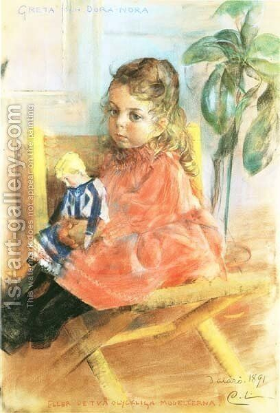 Greta And Dora-Nora by Carl Larsson - Reproduction Oil Painting