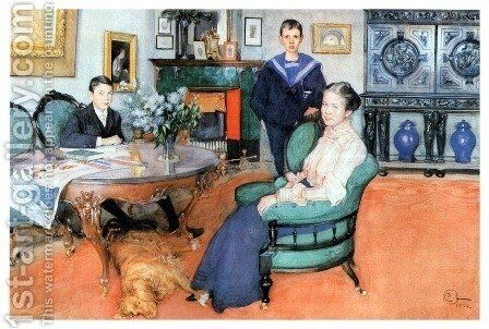 Hakon, Daga And Edgar by Carl Larsson - Reproduction Oil Painting