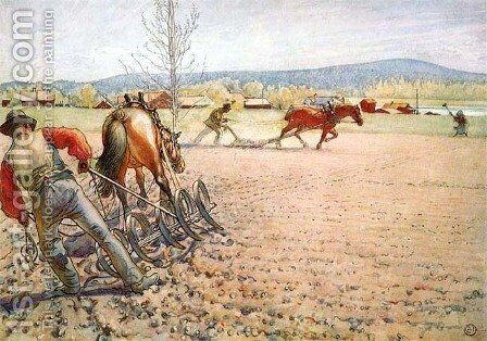 Harrowing The Field by Carl Larsson - Reproduction Oil Painting