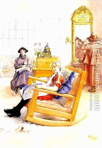 Hat Fitting by Carl Larsson - Reproduction Oil Painting