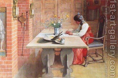 Hilda by Carl Larsson - Reproduction Oil Painting