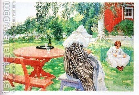 In The Garden by Carl Larsson - Reproduction Oil Painting