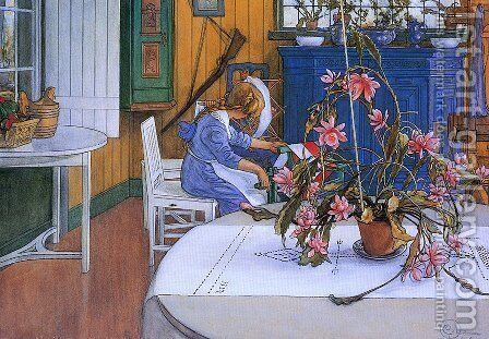 Interior With Cactus by Carl Larsson - Reproduction Oil Painting