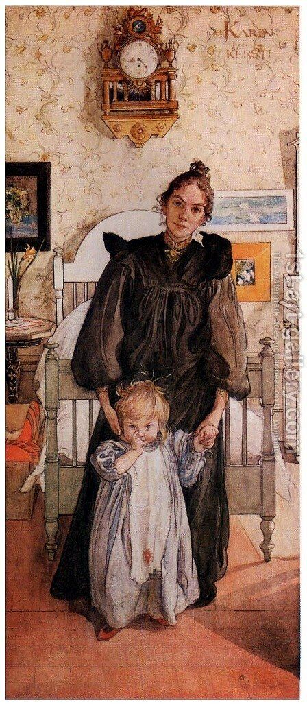Karin and Kersti by Carl Larsson - Reproduction Oil Painting