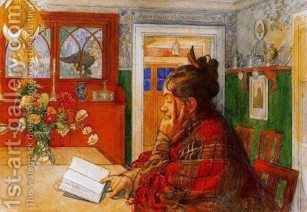 Karin reading by Carl Larsson - Reproduction Oil Painting