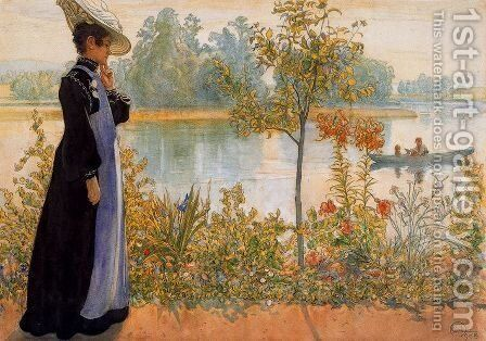 Late Summer, Karin By The Shore by Carl Larsson - Reproduction Oil Painting