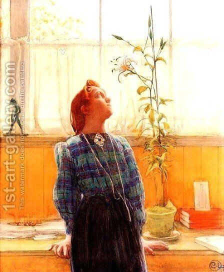 Lisbeth And Lillies by Carl Larsson - Reproduction Oil Painting