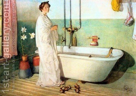 Lisbeth Prepares A Bath by Carl Larsson - Reproduction Oil Painting