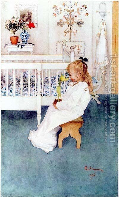 Lisbeth With Yellow by Carl Larsson - Reproduction Oil Painting