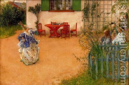 Lisbeth represents the mean princess in the blue Bird by Carl Larsson - Reproduction Oil Painting