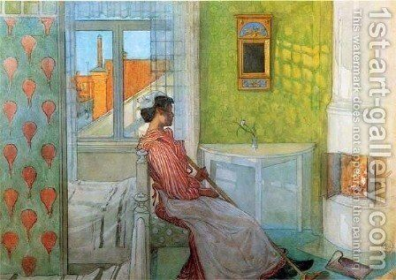 Martina In Front Of The Fire by Carl Larsson - Reproduction Oil Painting