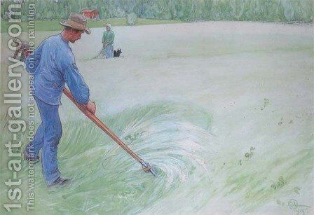 Mowing The Oats by Carl Larsson - Reproduction Oil Painting
