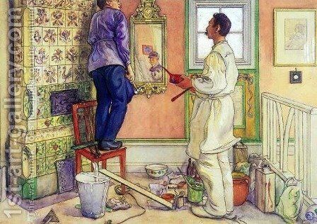 My friends, the Carpenter and the Painter by Carl Larsson - Reproduction Oil Painting