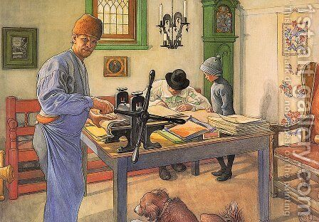 My workshop of engraving by Carl Larsson - Reproduction Oil Painting