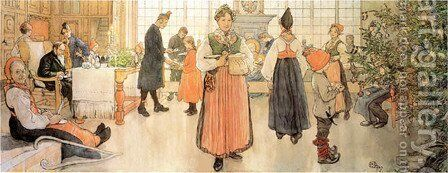 Now Its Christmas by Carl Larsson - Reproduction Oil Painting