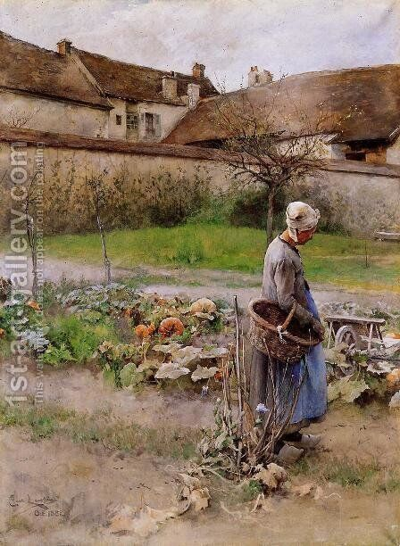 October, The Pumpkins by Carl Larsson - Reproduction Oil Painting