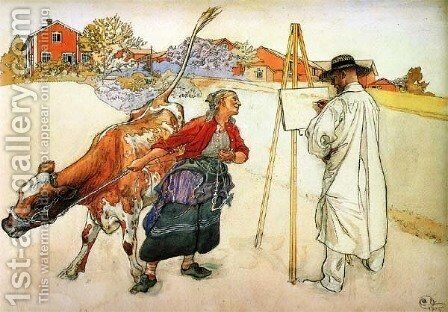 On The Farm by Carl Larsson - Reproduction Oil Painting