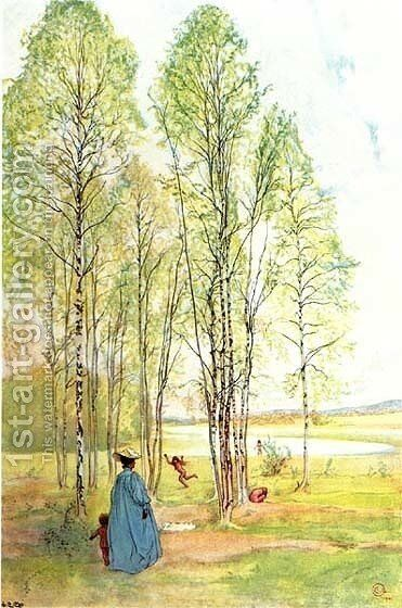 Outing by Carl Larsson - Reproduction Oil Painting