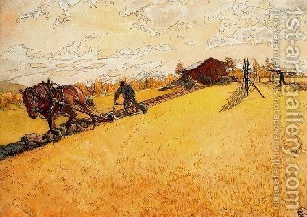Plowing by Carl Larsson - Reproduction Oil Painting
