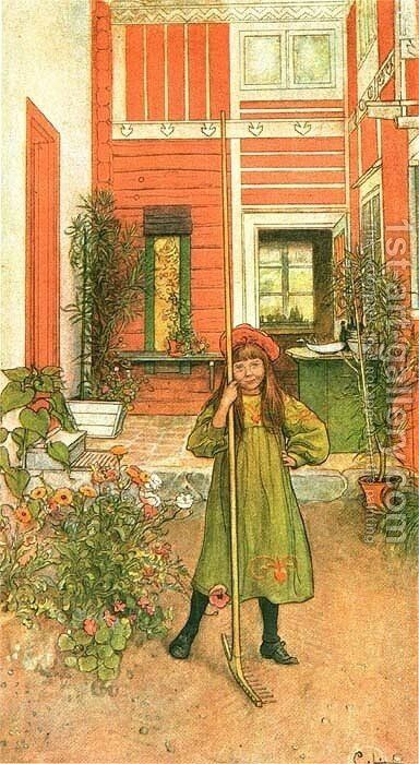 Raking by Carl Larsson - Reproduction Oil Painting