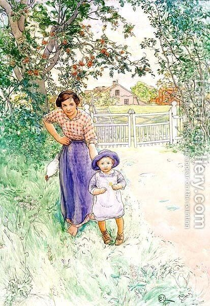 Say Hello Nicely by Carl Larsson - Reproduction Oil Painting