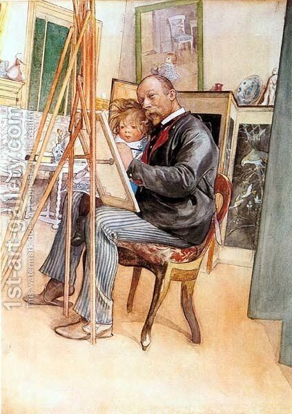 Seen In The Mirror by Carl Larsson - Reproduction Oil Painting